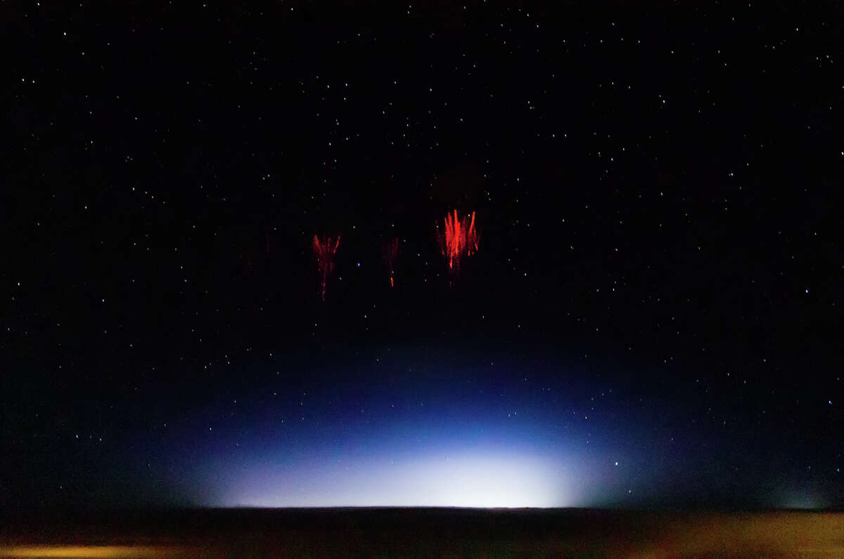 This is an upper atmosphere electrical discharge called a sprite. The photo was taken over the U.S. by scientist Jason Ahrns recently while aboard the National Center for Atmospheric Research's Gulfstream V research aircraft. (Photo: Jason Ahrns/Flickr)