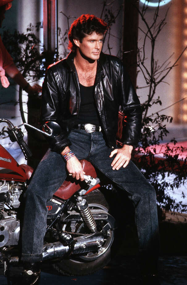 David Hasselhoff poses with a motorcycle. Photo: Bernd Muller, Redferns / 1989 Bernd Muller