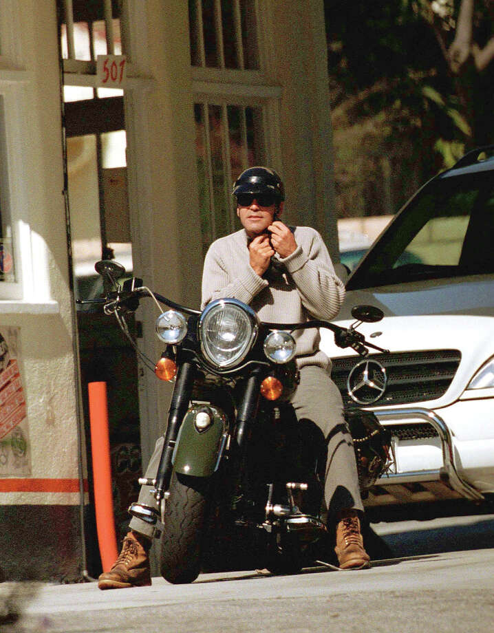 George Clooney takes his Indian out for a spin. Photo: Mike Carrillo, Getty Images / Hulton Archive