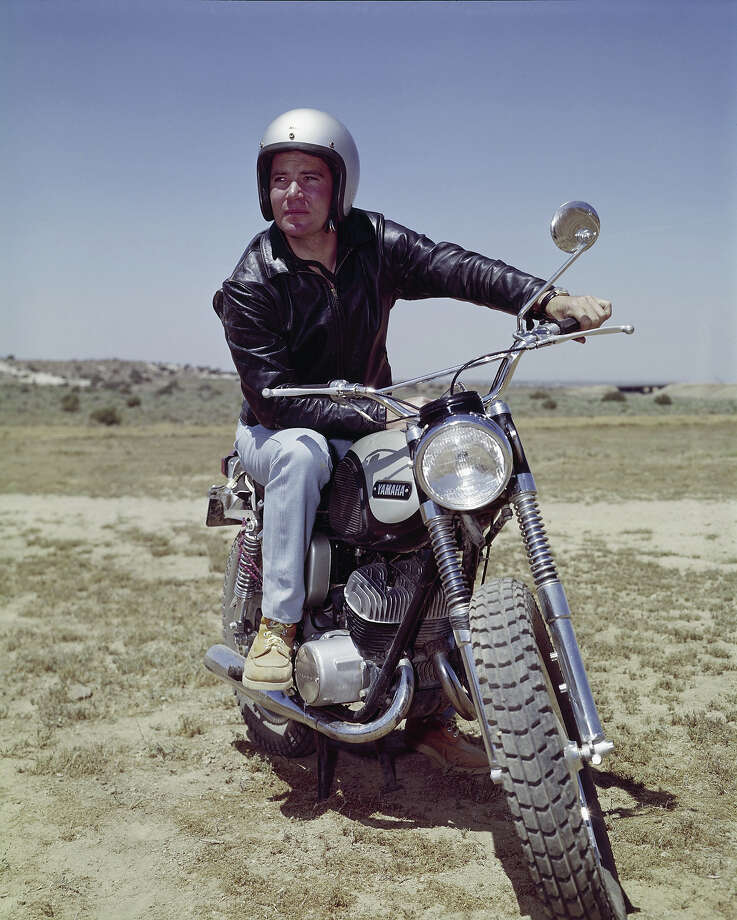 William Shatner poses on an old Yami. Photo: NBC, NBC Via Getty Images / ? NBC Universal, Inc.