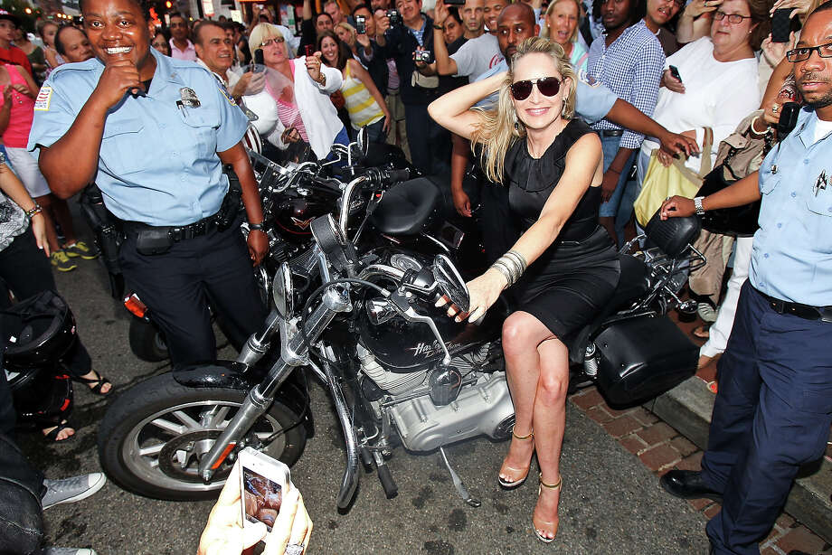 Sharon Stone sits on a LifeRide motorcycle. Photo: Paul Morigi / 2012 Getty Images