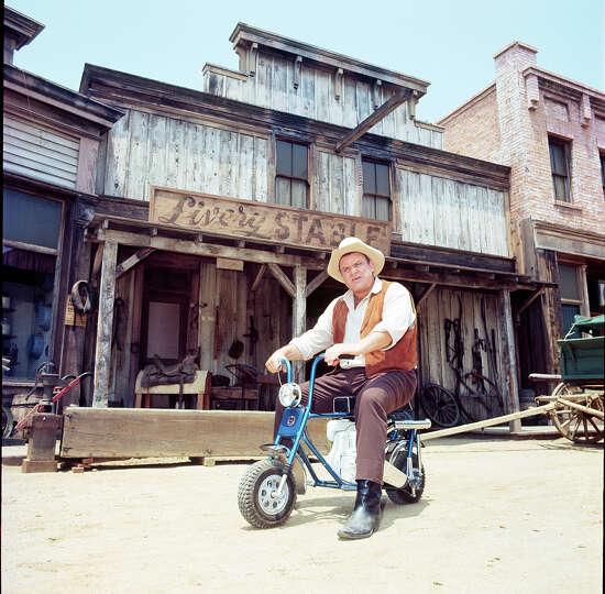 Dan Blocker Sits On A Mini Bike On The Set Of Quot Bonanza