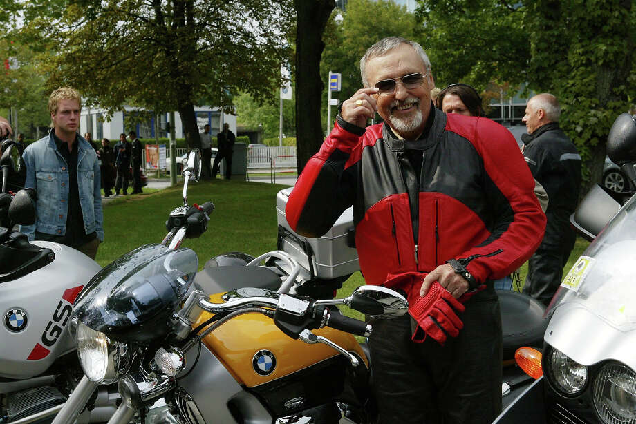 "Dennis Hopper at a charity ride, years after ""Easy Rider."" Photo: Franziska Krug, Getty Images / German Select"