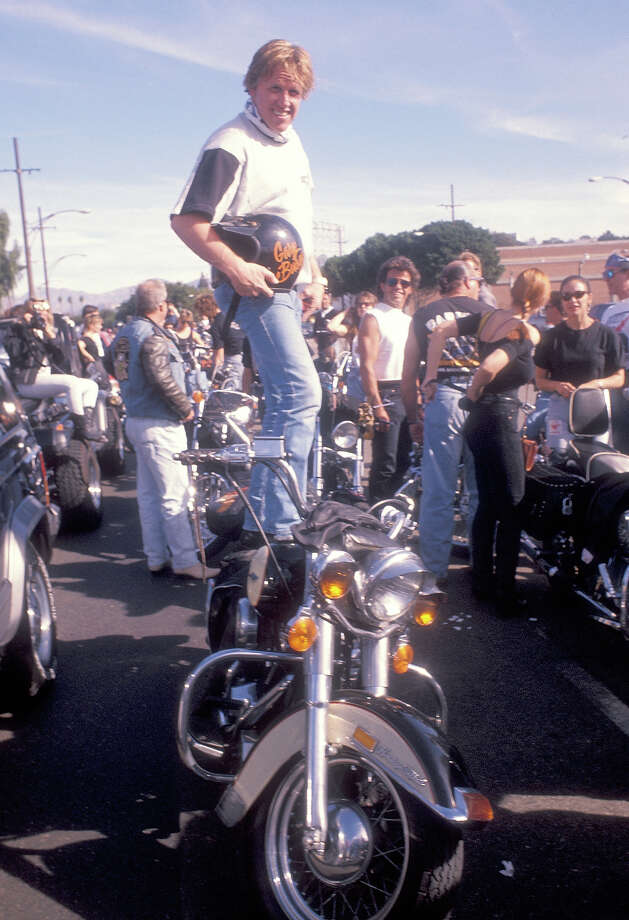 Gary Busey clowning around at a motorcycle benefit. Photo: Ron Galella, WireImage / 1990 Ron Galella, Ltd.