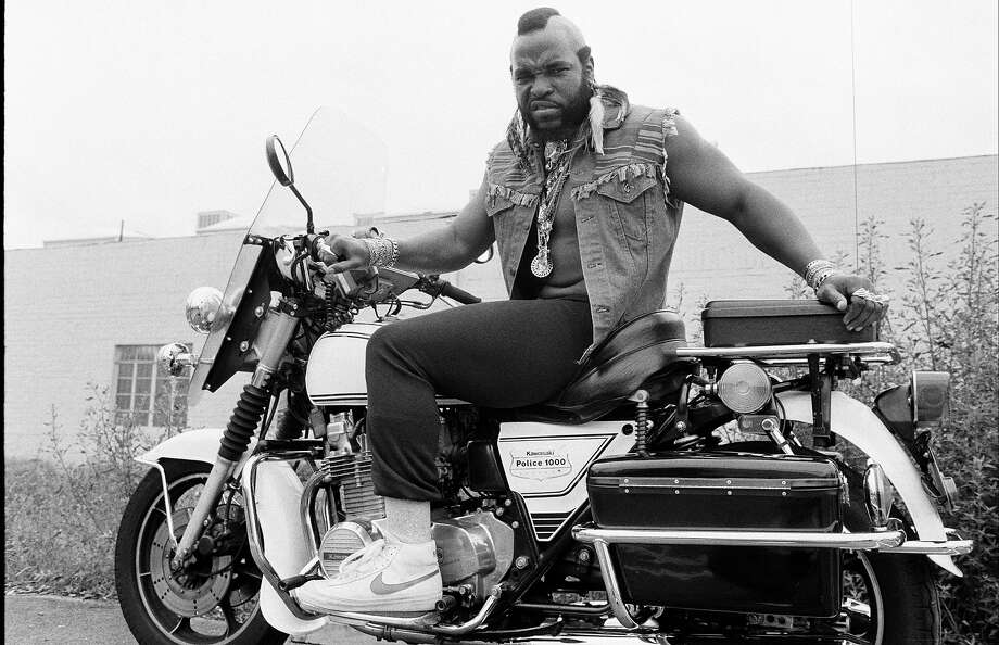 "Just like the boys from ""CHiPs,"" Mr. T poses on a Kawasaki KZ1000 police model in the 80s. Photo: Time & Life Pictures, Time Life Pictures/Getty Images / Time & Life Pictures"