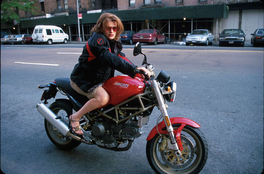 Comedienne Sandra Bernhard hits the mean streets of Manhattan on a Ducati Monster. Photo: Sylvain Gaboury, Time & Life Pictures/Getty Image / Time Life Pictures