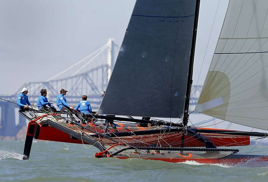 The American Youth Sailing Force team practices for the youth cup with a 30-foot catamaran on San Francisco Bay. Photo: Brant Ward, The Chronicle