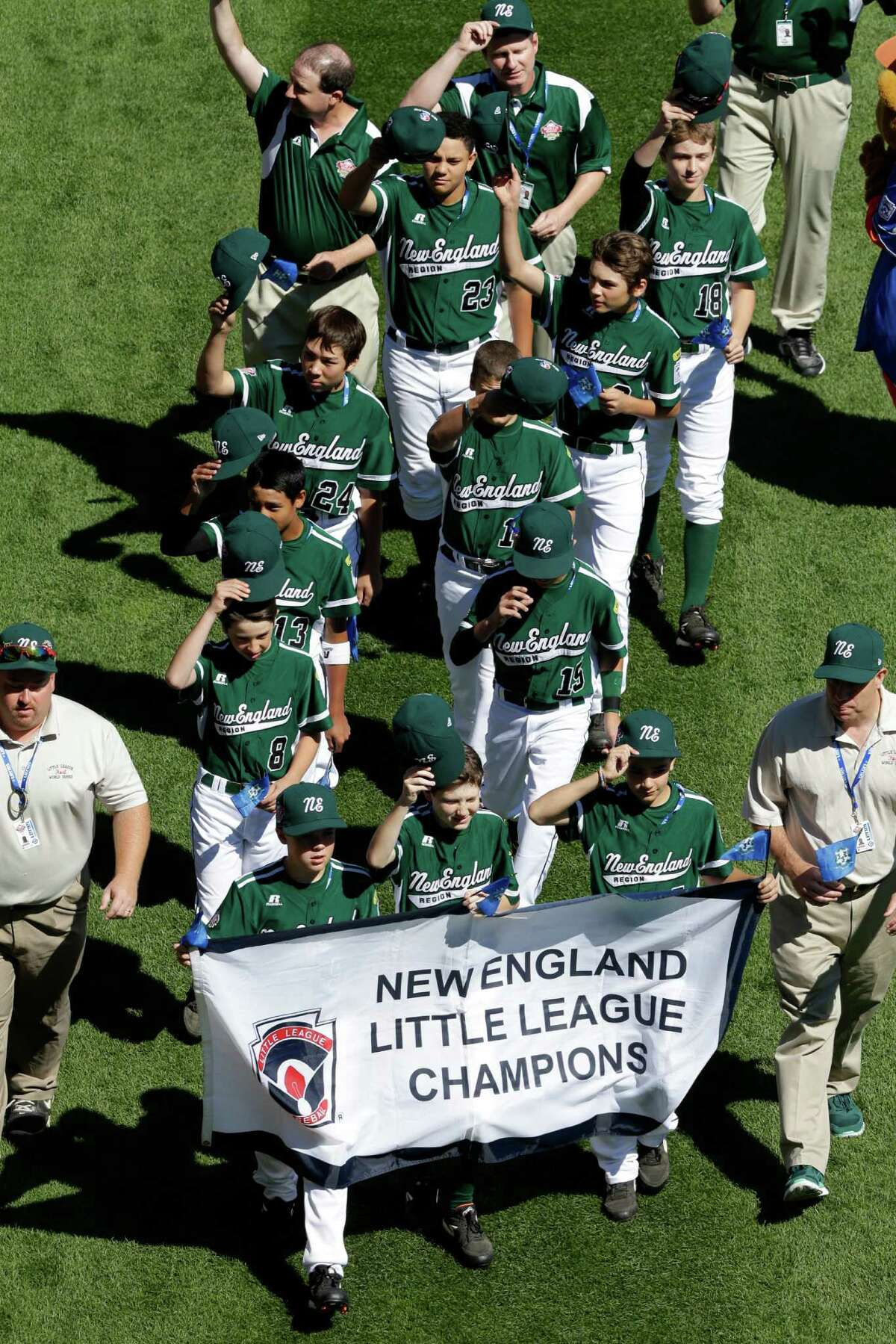 The Little League baseball team from Westport, Conn. participates in the opening ceremony of the 2013 Little League World Series tournament in South Williamsport, Pa., Thursday, Aug. 15, 2013.