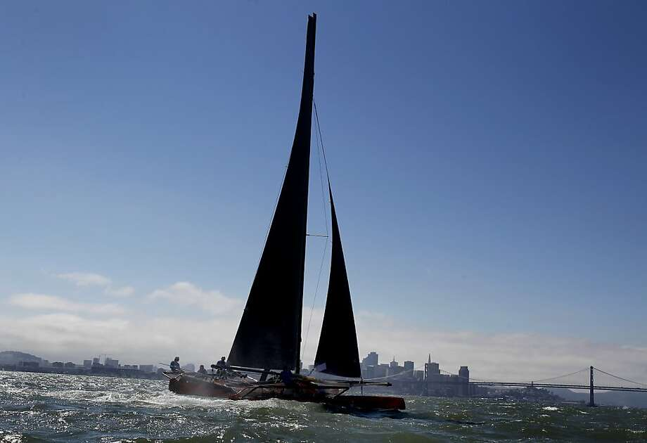 The crew of the American Youth Sailing Force practiced with a 30 foot catamaran in the bay August 5, 2013. The crew members of the American Youth Sailing Force are from the Bay Area and will compete with a 45 foot catamaran in an upcoming youth sailing competition during the America's Cup series. Photo: Brant Ward, The Chronicle