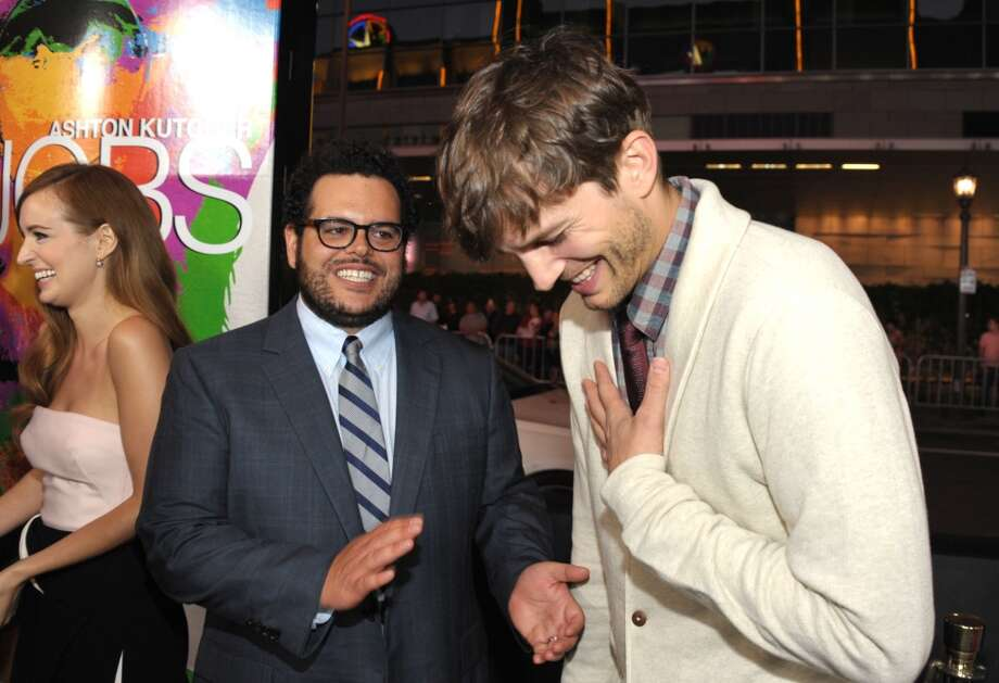 "From left, Ahna O'Reilly, Josh Gad, and Ashton Kutcher attend the special screening of ""Jobs"". Photo: John Shearer, Associated Press"
