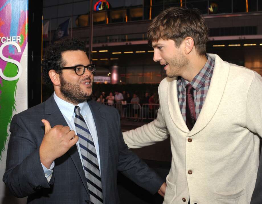 "Josh Gad, left, and Ashton Kutcher attend the special screening of ""Jobs"" at the Regal Cinemas L.A. Photo: John Shearer, Associated Press"