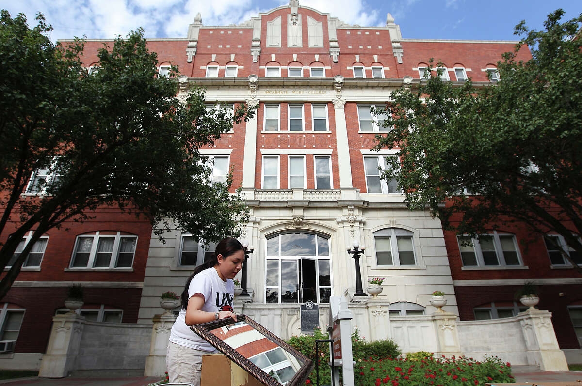 Celina Flores of Orange Grove moves into her dorm at the University of Incarnate Word. Despite having about 114,000 higher education students, the Alamo City is not known as a college town.