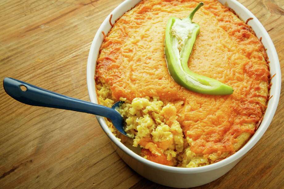 Hatch chiles add extra flavor to many dishes, including this Corn and Hatch Chile Casserole. Photo: Houston Chronicle / © 2013 Houston Chronicle