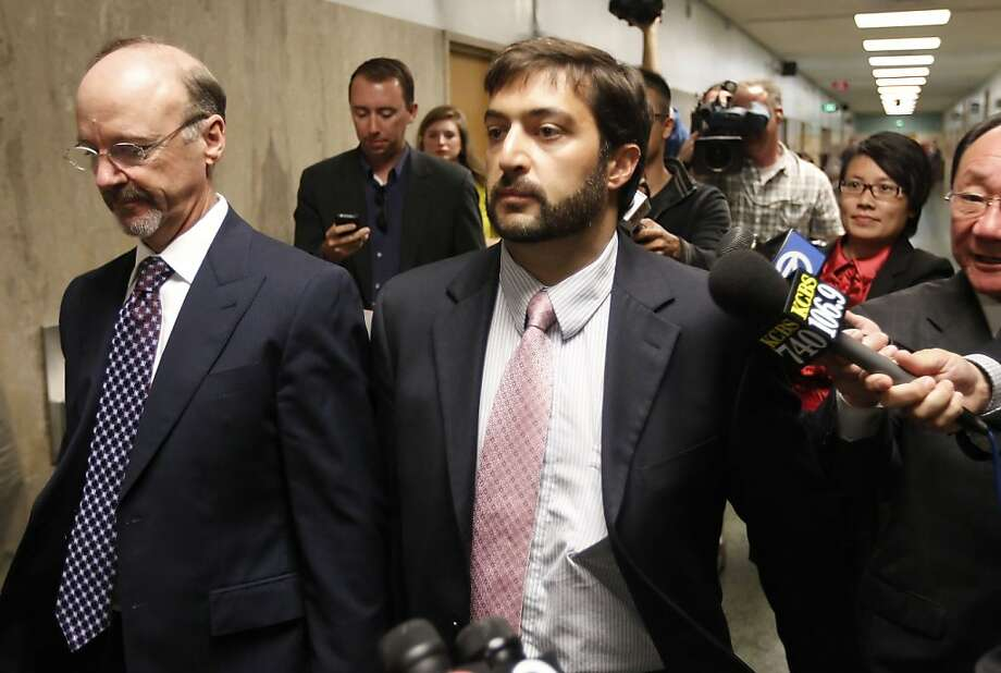 Christopher Bucchere, 37,  leaving court with his attorney Ted Cassman, (left) after his sentencing on Thursday August 15, 2013, in San Francisco, Ca. Bucchere pled guilty to vehicular manslaughter, the first of its kind in the nation involving a bicycle. Photo: Michael Macor, San Francisco Chronicle