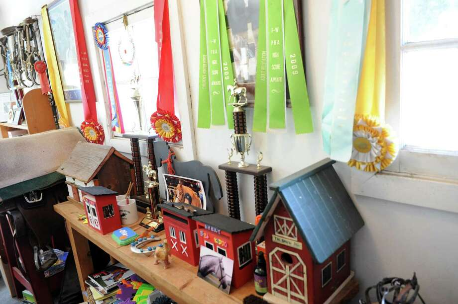 Ribbons is on the wall at Country Lane Farm's John Street Barn in Greenwich, Conn., Wednesday, August 14, 2013. Photo: Helen Neafsey / Greenwich Time