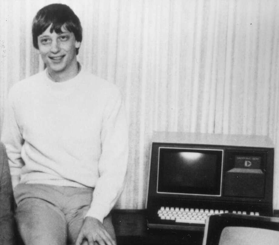 Who's the blonde guy behind Wyle's Jobs in the previous photo? It's Anthony Michael Hall portraying Microsoft co-founder Bill Gates, shown here circa 1981. Photo: IMAGE COURTESY MICROSOFT., IMAGE COURTESY MICROSOFT.