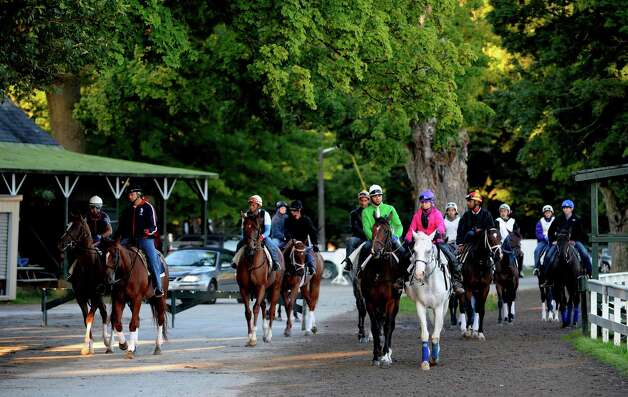 Horses from various trainers come out for their exercise during the early morning hours  of Aug. 15, 2013 at the Saratoga Race Course in Saratoga Springs, N.Y.   (Skip Dickstein/Times Union) Photo: SKIP DICKSTEIN