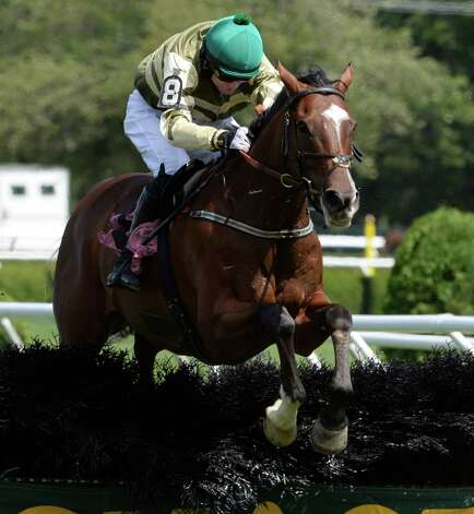 Barnstorming with jockey Sean McDermott in the saddle flies over the final fence to win The Michael D. Walsh Novice Stakes Thursday, Aug. 15, 2013, at Saratoga Race Course in Saratoga Springs, N.Y.  (Skip Dickstein/Times Union) Photo: SKIP DICKSTEIN
