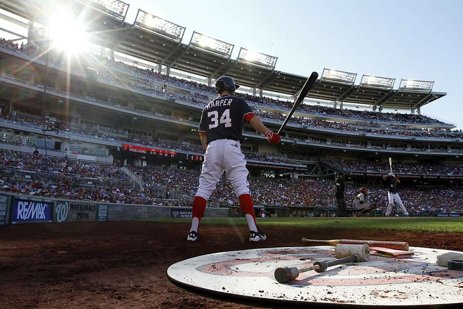 Washington Nationals left fielder Bryce Harper (34) prepares to bat during a baseball game against the San Francisco Giants at Nationals Park Thursday, Aug. 15, 2013, in Washington. (AP Photo/Alex Brandon) Photo: Alex Brandon, Associated Press