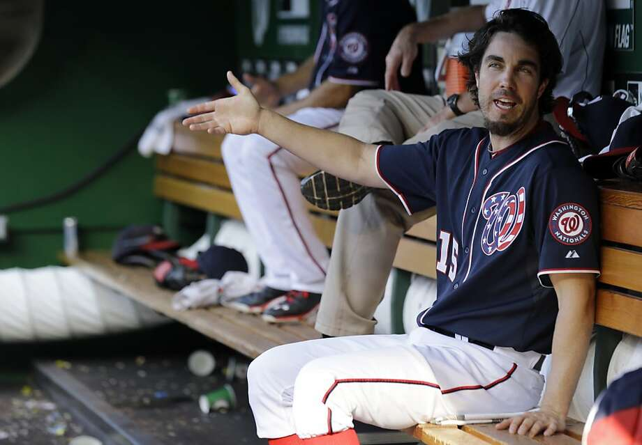 Washington Nationals starting pitcher Dan Haren (15) talks in the dugout during a baseball game against the San Francisco Giants at Nationals Park Thursday, Aug. 15, 2013, in Washington. (AP Photo/Alex Brandon) Photo: Alex Brandon, Associated Press