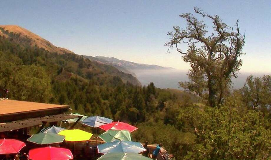 Nepenthe: Readers rave about the Big Sur view, seen  in a recent Webcam  image. It's one of many favorite view restaurants not on a recent Open Table users survey. (Reservations here are for parties of five or more, and you have to call.) Photo: Nepenthebigsur.com