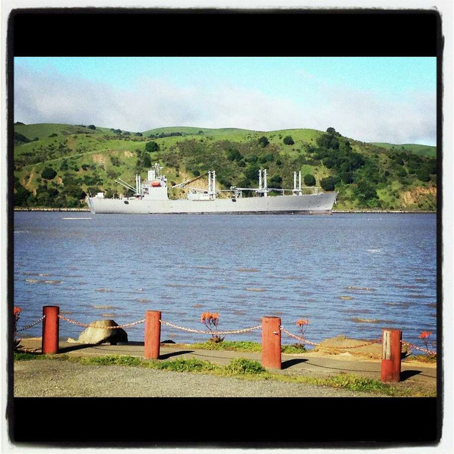 Sailor Jack's:  This Benicia favorite offers a variety of marine vistas, including the Carquinez Straits and this one, labeled on its  Facebook page as the USS Iowa. Photo: Sailor Jack's
