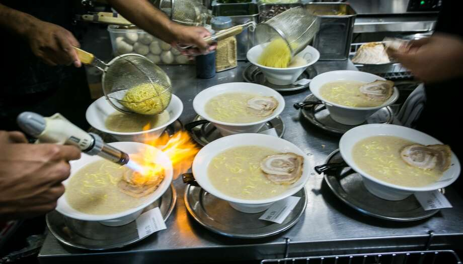 Ramen being made in the kitchen at Orenchi Ramen in Santa Clara. Photo: John Storey, Special To The Chronicle