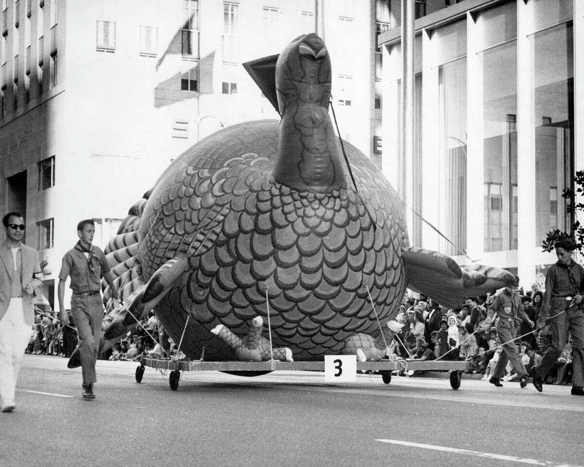 Tom Turkey leads the procession during the 1962 Foley's Thanksgiving Day Parade, Nov. 22, 1962.