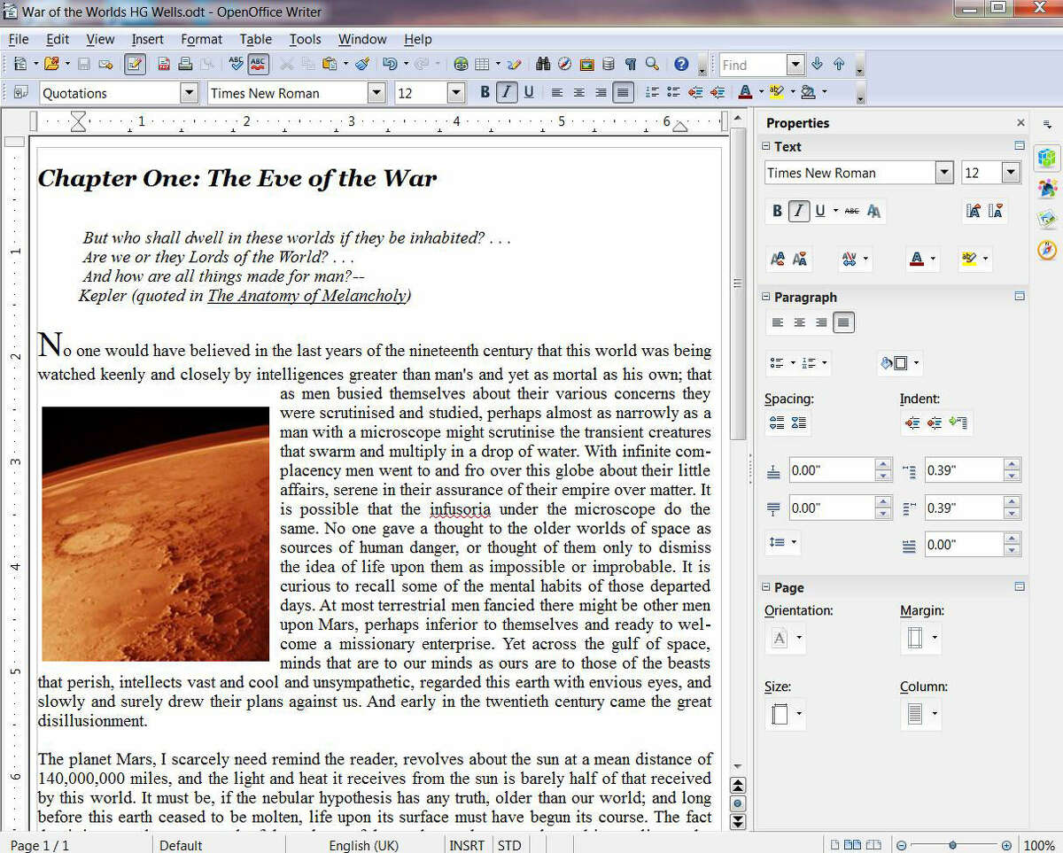 Screenshot of Writer, the free word processor that's part of the Apache OpenOffice free office suite.