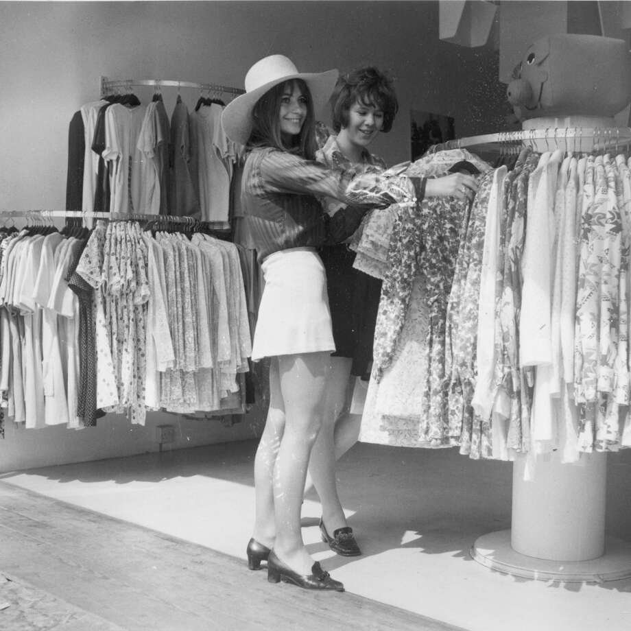 June 17, 1969:  Two young women shopping at a fashionable boutique on King's Road in Chelsea, London. Photo: Evening Standard, Getty Images