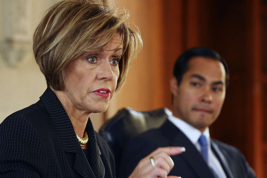 City Manager Sheryl Sculley and Mayor Julián Castro  today are dealing with the effects of a 1988 police contract. Photo: Express-News File Photo