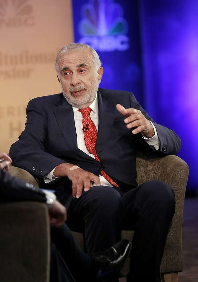 Carl Icahn, investor and chairman of Icahn Enterprises, on CNBC in New York, July 17, 2013. A Delaware judge on Friday denied a request by Icahn to reschedule Dell Inc.'s annual meeting, dealing a blow to Icahn's fight against a buyout offer led by the company's founder, Michael S. Dell. (Heidi Gutman/CNBC via New York Times) -- NO SALES; FOR EDITORIAL USE ONLY WITH STORY SLUGGED DELL BUYOUT. ALL OTHER USE PROHIBITED. Photo: Heidi Gutman, New York Times