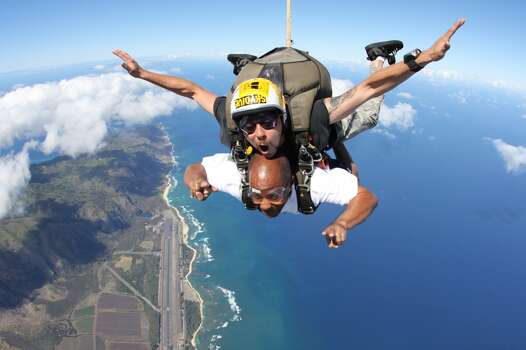 I decided that if I was going to splat the ground skydiving, I should at least enjoy the view going down over Oahu, Hawaii. Awesome experience!!