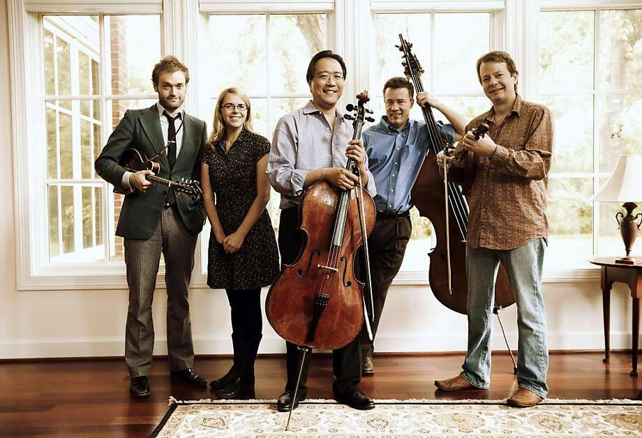 Mandolinist Chris Thile, vocalist Aoife O'Donovan, cellist Yo-Yo Ma, double bassist Edgar Meyer and violinist Stuart Duncan. Photo: Opus 3 Artists