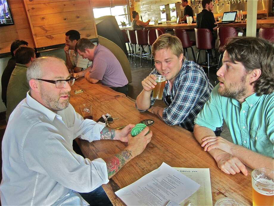 Chef Richard Knight, from left, Down House owner Chris Cusack and Down House chef Benjy Mason have big plans for Hunky Dory. Photo: Alison Cook