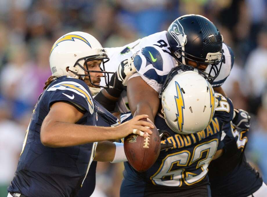 3. The rookie defensive linemen (cont.)Tackles Jordan Hill (pictured, above) and Jesse Williams both looked good, clogging running lanes and applying pressure up the middle in passing downs. With Tony McDaniel, Clemons and Avril all out, look for the youngsters to continue to take advantage of playing time in their bids to work their way up the depth chart.   Photo: Harry How, Getty Images