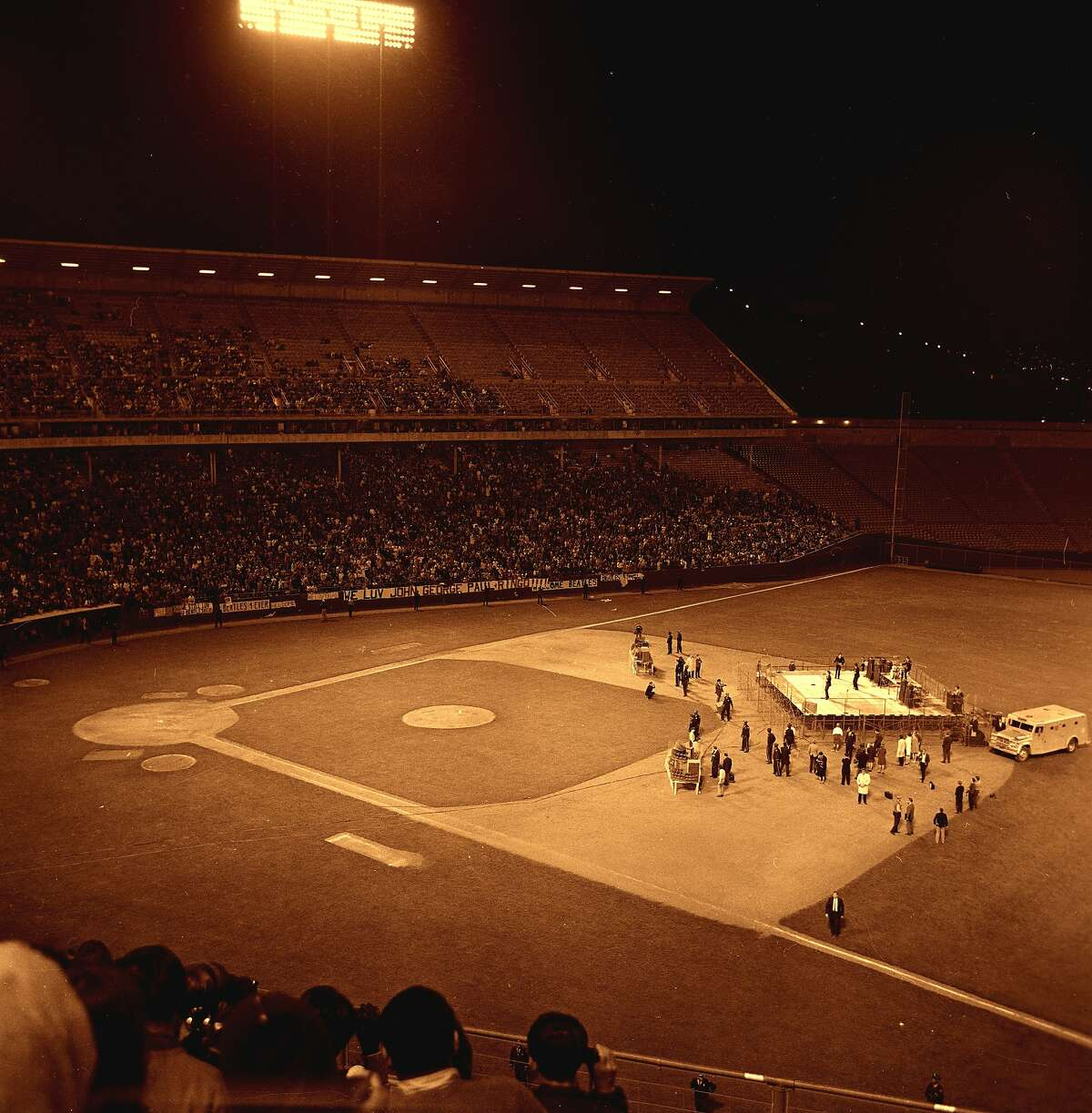 The Beatles perform at Candlestick Park for the last time on Aug. 29, 1966.