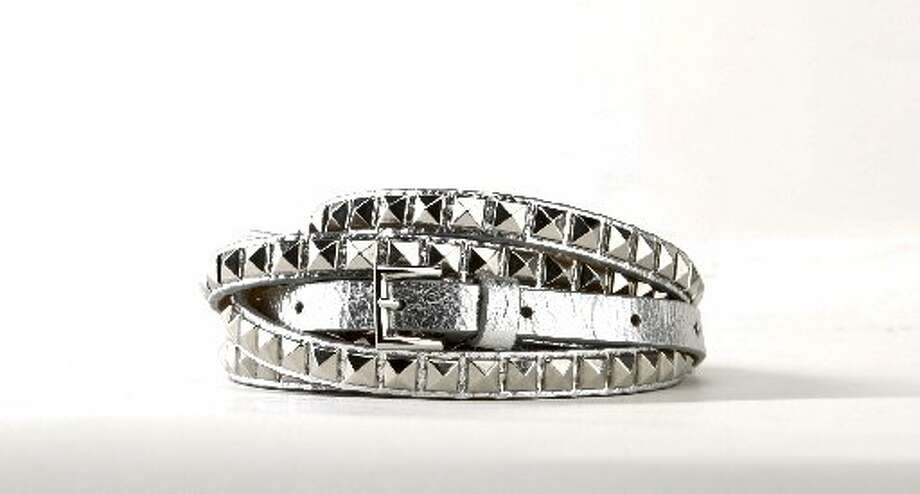 Streets Ahead double wrap pyramid studded belt, $220, Saks. Photo: Russell Yip, The Chronicle