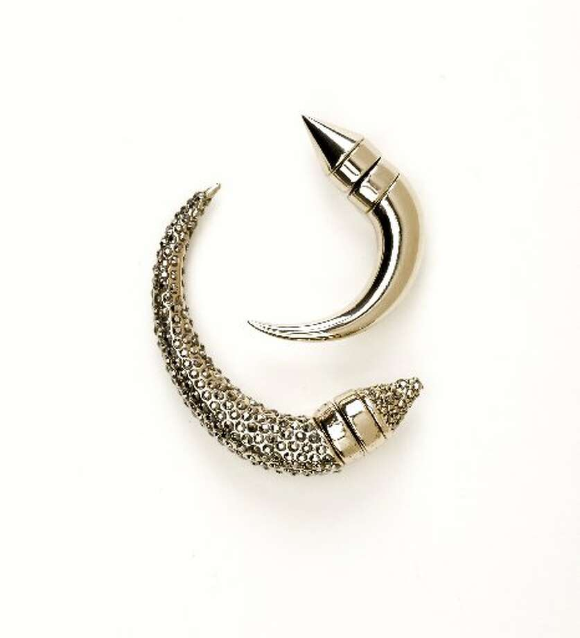 Givenchy small shark earring, $360, Barneys New York, S.F., and Givenchy rhinestone shark earring, $555, Barneys. Photo: Russell Yip, The Chronicle