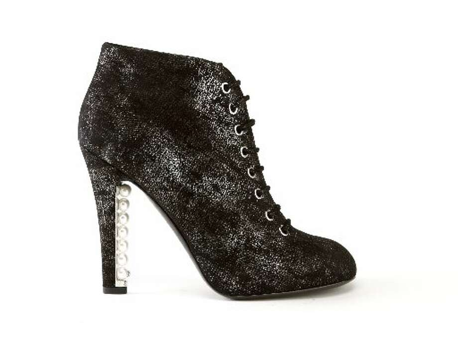 Chanel Pearl studded heel bootie, $1,495, Saks. Photo: Russell Yip, The Chronicle