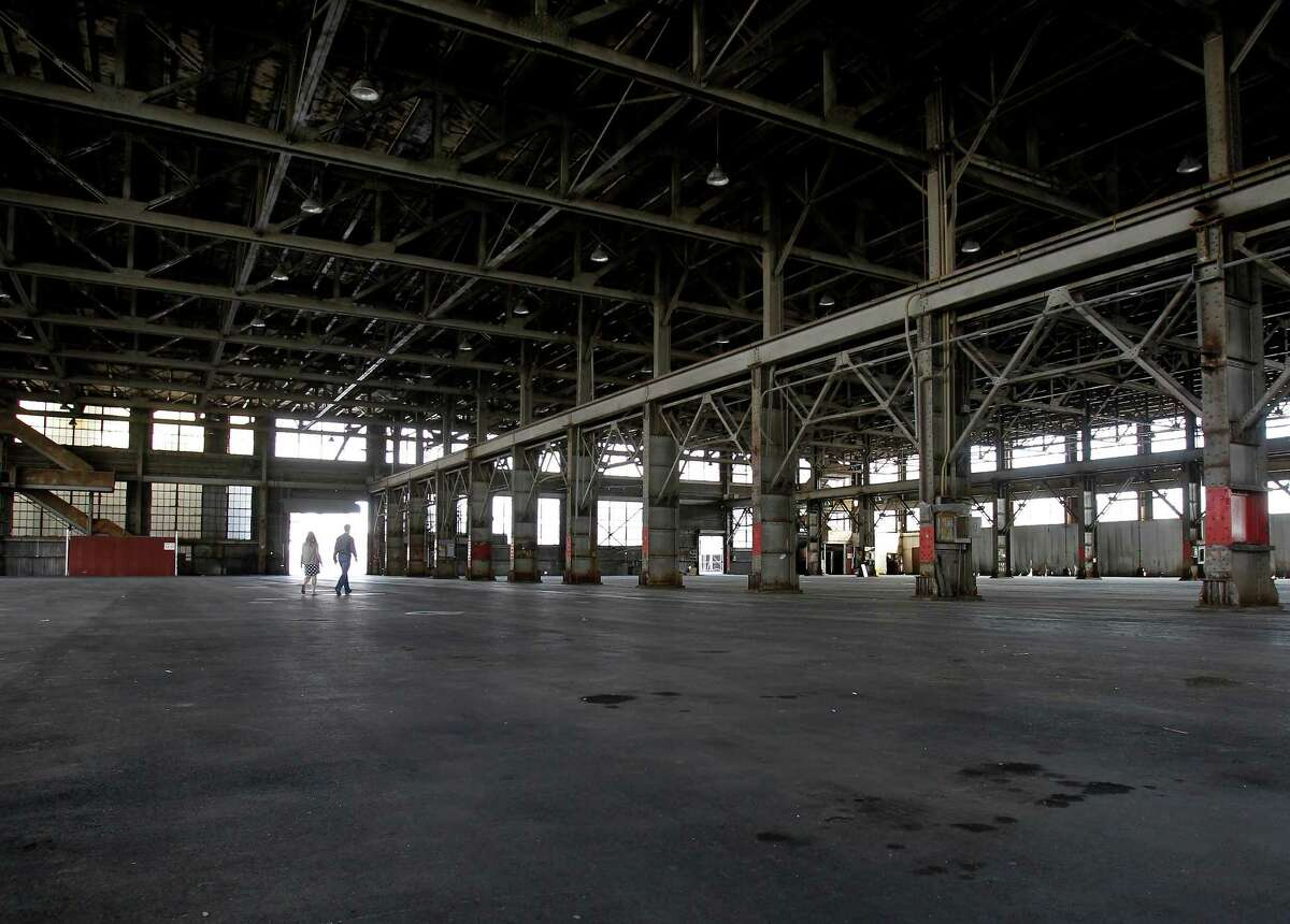 The interior of building 12 at Pier 70 Thursday August 15, 2013 is 250 feet long. Forest City developers are preparing to renovate part of Pier 70 in San Francisco, Calif., including building 12 the former city tow lot, with office space, retail and living spaces.
