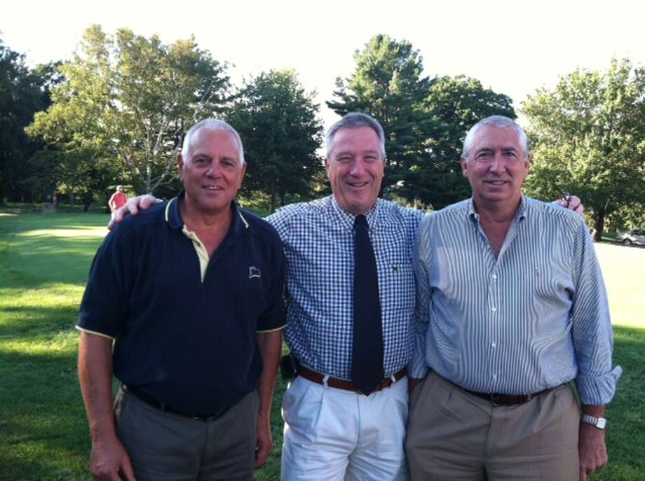 From left to right: Steve Stearns, Tod Laudonia and Peter Gelderman, winners of the Cardinal/Blue Knight Trophy at The Sixth Annual St. Mary/Greenwich High Golf Outing on Aug. 12. Missing in pic is Geoff Gelderman who made the first hole in the tournament's 6 years. Photo: Advocate