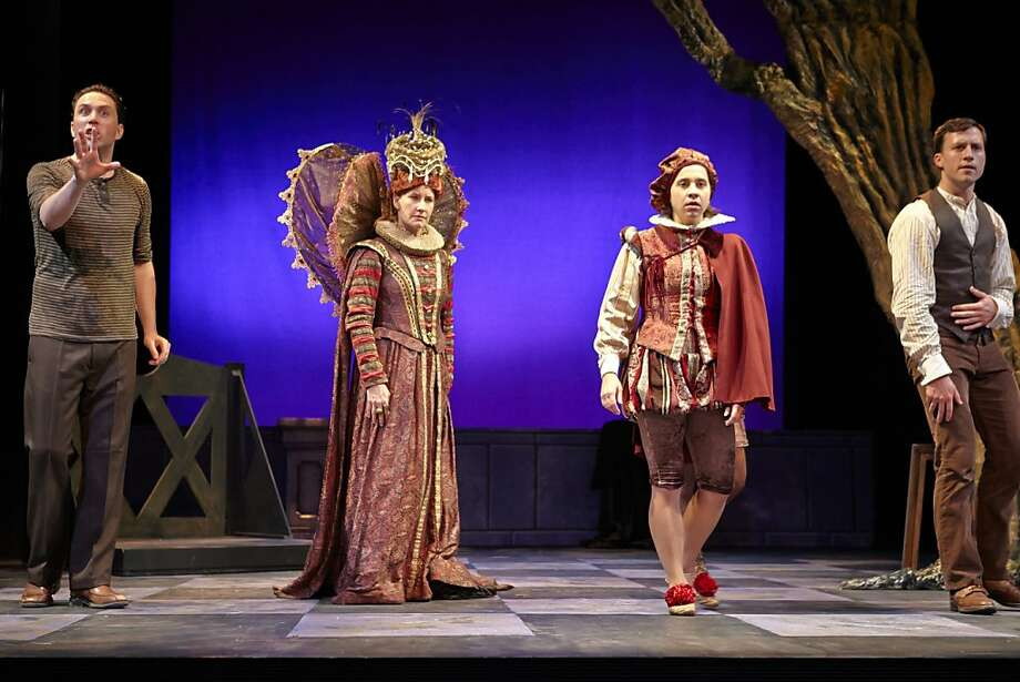 Orlando (Stephanie DeMott, second from right) is the boy toy of Queen Elizabeth (Andrea Day) - with Michael Barr (left) and Soren Santos (right). Photo: Robert J. Schroeder