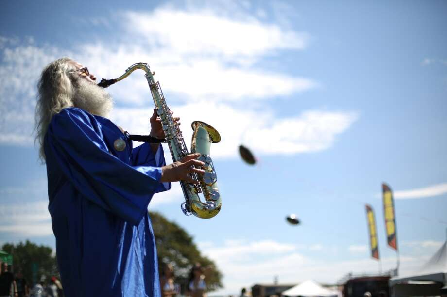 Mystic jams on his sax during the first day of Seattle's annual Hempfest at Myrtle Edwards Park on Friday, August 16, 2013. Photo: JOSHUA TRUJILLO, SEATTLEPI.COM