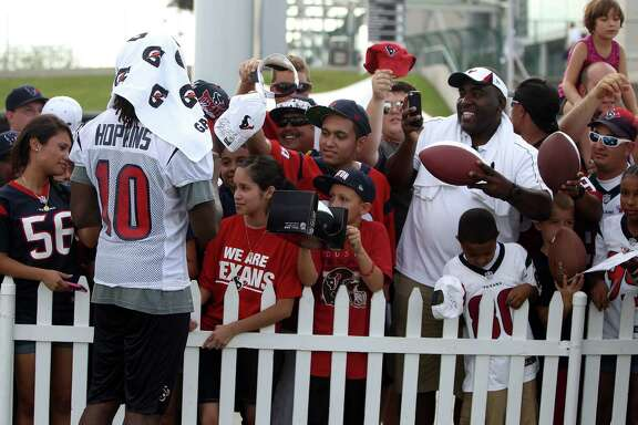 Rookie wide receiver DeAndre Hopkins (10) hasn't been in Houston long but he is a big hit with Texans fans.