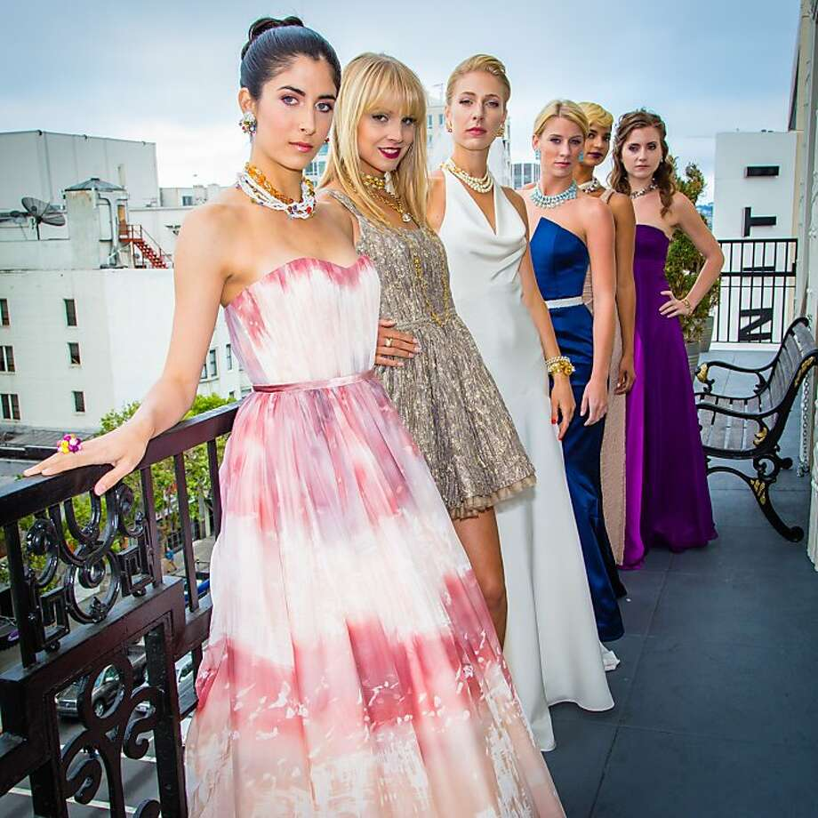 The Factory debuted its new evening-wear collaboration with Britex, shown on models, top, with an intimate dinner at the Beaux Arts penthouse overlooking downtown San Francisco of Factory founder Jennifer Evans, above. Photo: The Factory