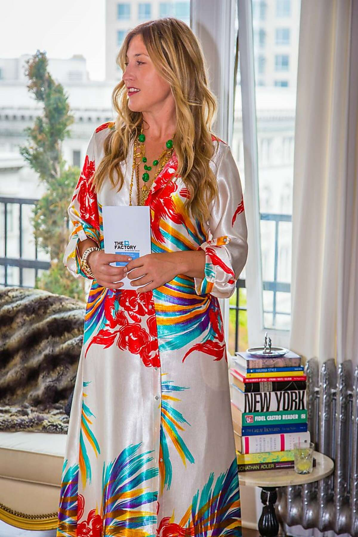 The Factory debuted its new eveningwear line with Britex with an intimate dinner at founder Jennifer Evans' (pictured) Beaux Arts penthouse overlooking downtown San Francisco.