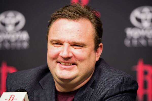 Houston Rockets general manager Daryl Morey addresses the media during  a press conference announcing draft pick Isaiah Canaan at Toyota Center on Friday, June 28, 2013, in Houston. ( Smiley N. Pool / Houston Chronicle )