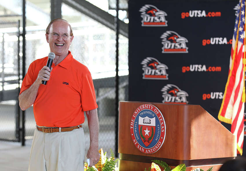 Bexar County Judge Nelson Wolff speaks at the opening ceremonies for the new UTSA Track & Field Stadium off of Loop 1604 and Kyle Seale Parkway on Friday, Aug. 16, 2013. Guests were also treated to an exhibition soccer match between UTSA and the University of the Incarnate Word women's soccer teams.