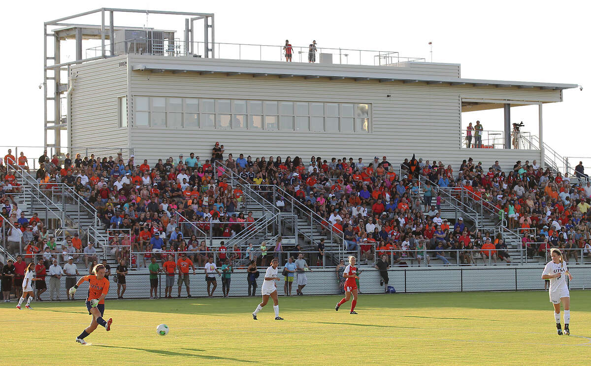 UTSA and the University of the Incarnate Word women soccer players play an exhibition match at the new UTSA Track & Field Stadium off of Loop 1604 and Kyle Seale Parkway on Friday, Aug. 16, 2013.